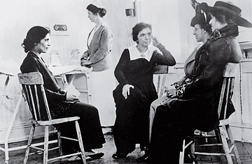 Margaret Sanger at the first birth-control clinic in the United States, 1916.
