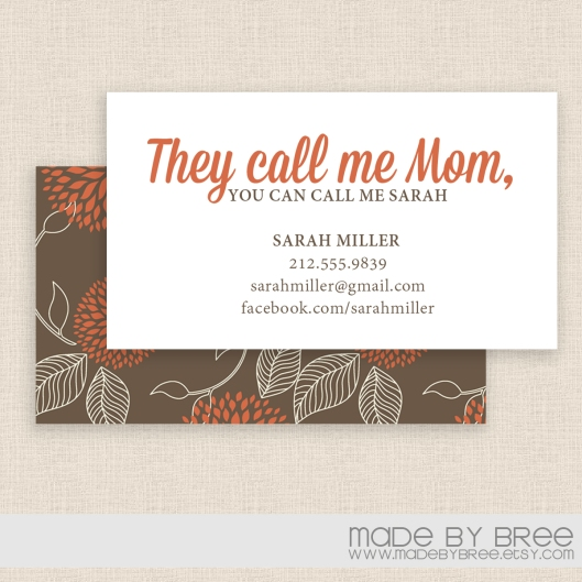 mommy-calling-cards-2sides-brown-orange-horizontal-w-env