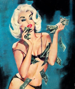 I always strip down to my underwear and caress myself with my hard-earned money.