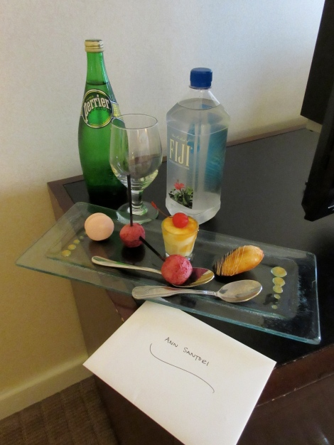 A bellboy brought this nummy dessert tray up to my room at the Sheraton Bloomington on my first night in Minneapolis.