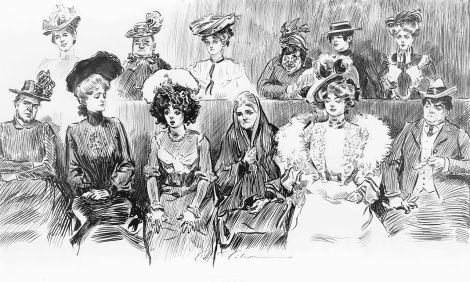 "Charles Dana Gibson's 1902 illustration for ""Life"" Magazine . . . ""When Women Are Jurors."""