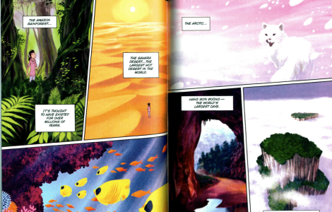 These panels are also a full-color departure from the muted tones of the rest of the book.